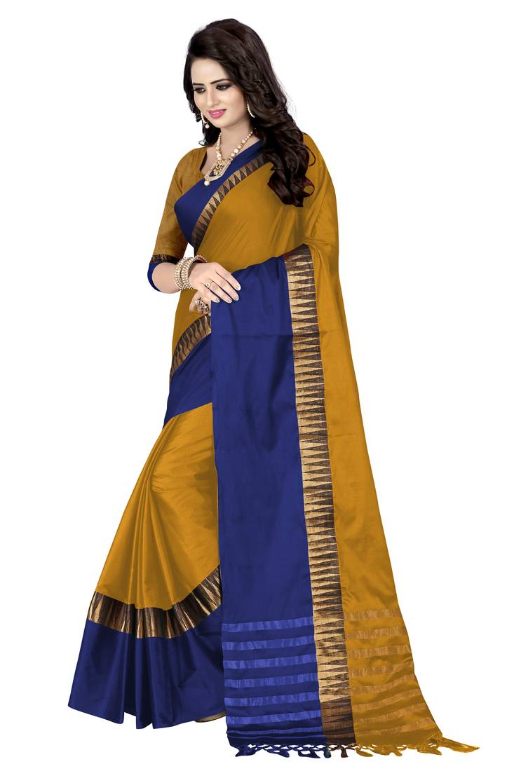 11792fbffef47 Gold printed cotton silk saree with blouse - Awesome - 2219783