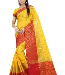 Buy Yellow plain banarasi silk saree with blouse banarasi-saree online