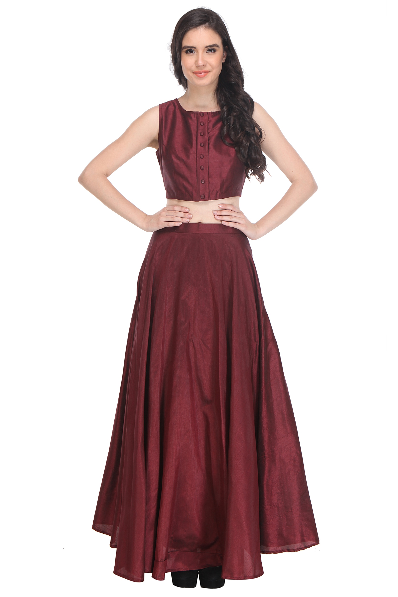 3dc0d90e58a8e3 Maroon Color Raw Silk Shantoon Plain/Solid Crop Top for Women - AIDA -  2221676