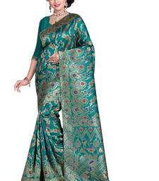 Buy Green woven poly cotton saree with blouse hand-woven-saree online