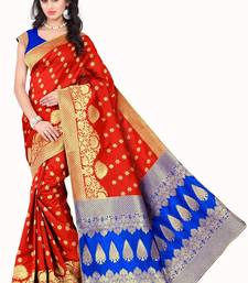 Buy Red woven poly cotton saree with blouse hand-woven-saree online