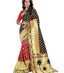 Buy Black woven poly cotton saree with blouse hand-woven-saree online