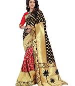 Buy Black woven poly cotton saree with blouse
