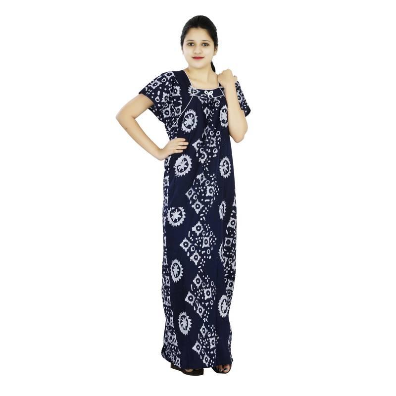 Blue Colour Batik Design Square Neck Cotton Nighty For