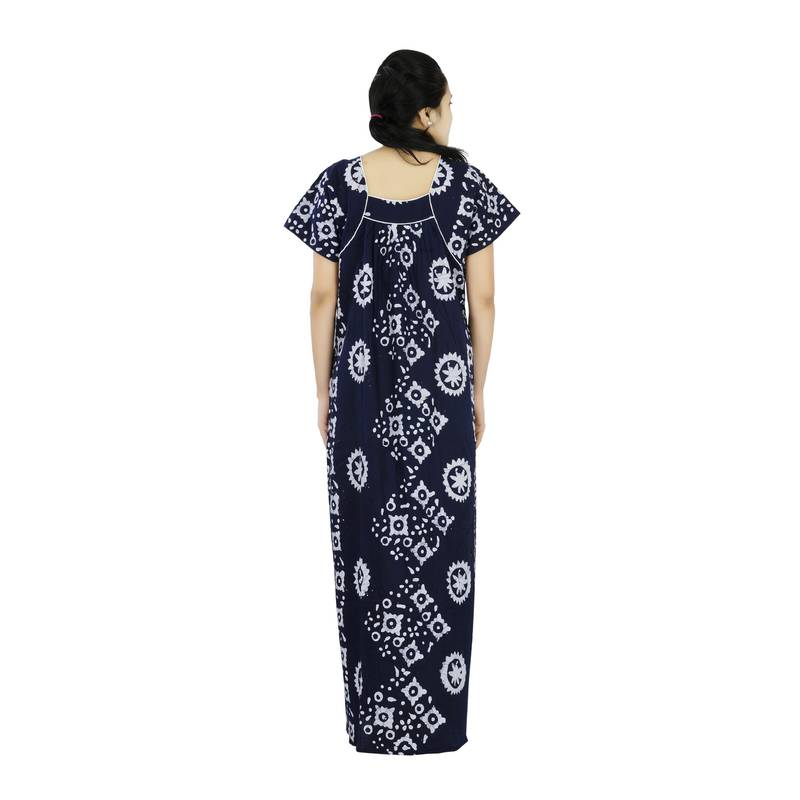 Buy Blue Colour Batik Design Square Neck Cotton Nighty For Ladies Online
