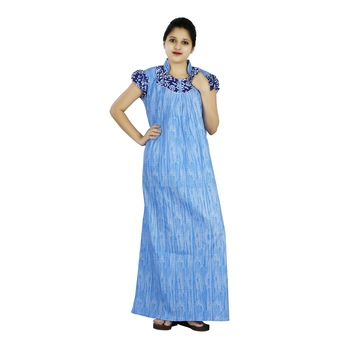 Buy Blue And White Colour Self Design High Collar Neck Cotton Nighty