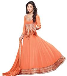 Buy Orange embroidered pure georgette salwar Woman online
