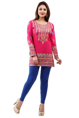 Indian Women Wine-Coloured /& Pink Printed Crepe Kurtis Dress Pakistani S To 4-XL