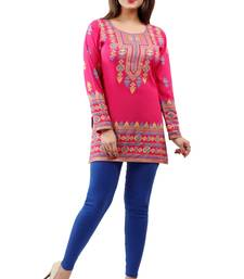 Dark pink  printed american crepe short kurtis with full sleeves