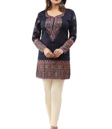 Dark blue  printed american crepe short kurtis with full sleeves