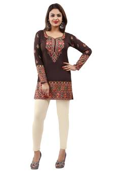 740c2a94980 Dark brown printed american crepe short kurtis with full sleeves