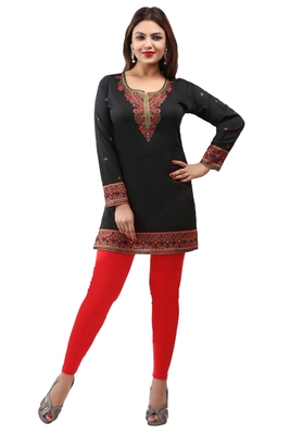 Black  printed american crepe short kurtis with full sleeves
