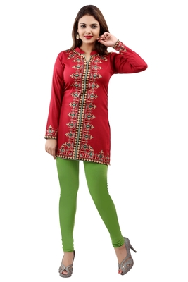 Maroon  printed american crepe short kurtis with full sleeves