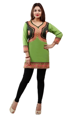 Light green  printed american crepe short kurtis with full sleeves