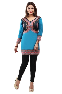Dark aqua blue  printed american crepe short kurtis with full sleeves