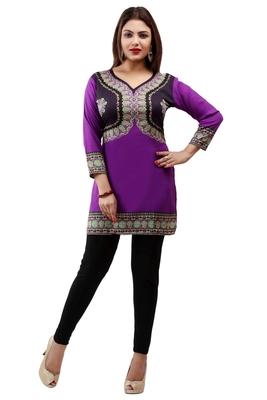 Dark purple  printed american crepe short kurtis with full sleeves
