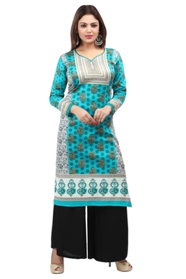 Dark blue cotton printed long kurtis with long sleeve