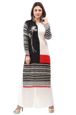 Black cotton printed long kurtis with long sleeve