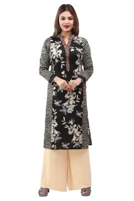 Black cotton printed long kurtis with long sleeve