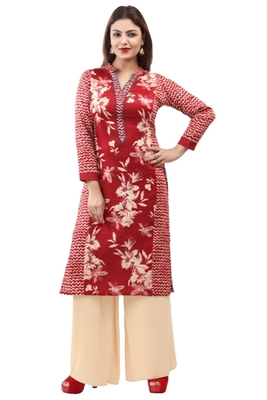 Maroon cotton printed long kurtis with long sleeve