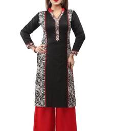 Black and white cotton printed long kurtis with long sleeve