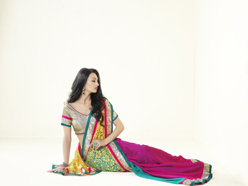 Multicolour embroidered artsilk party wear saree with blouse