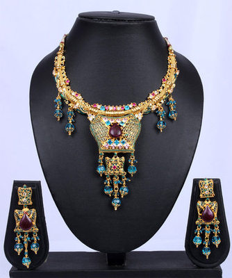 Traditional Gold Blue Beads Maroon Necklace Set