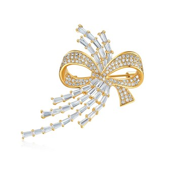 Gold zircon  brooch