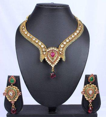 Traditional Pink Green Polki Kundan Teardrop Necklace Set