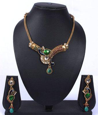 Peacock Green Blue Kundan Gold Necklace Set