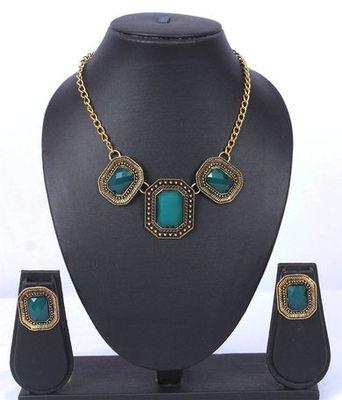 Blue Gold Oxidised Fashion Necklace Set
