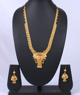 Gold Long Chain Enameled Pendant Set
