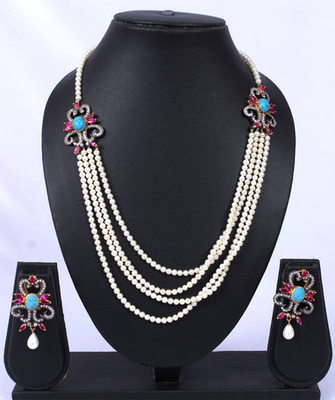 Turquoise Stone Pink Silver Antique Pearl Strands Necklace Set