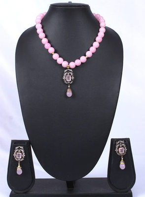 Pink Beads Antique American Diamond Pendant Set
