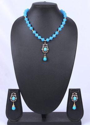 Blue Turquoise Beads American Diamond Pendant Set