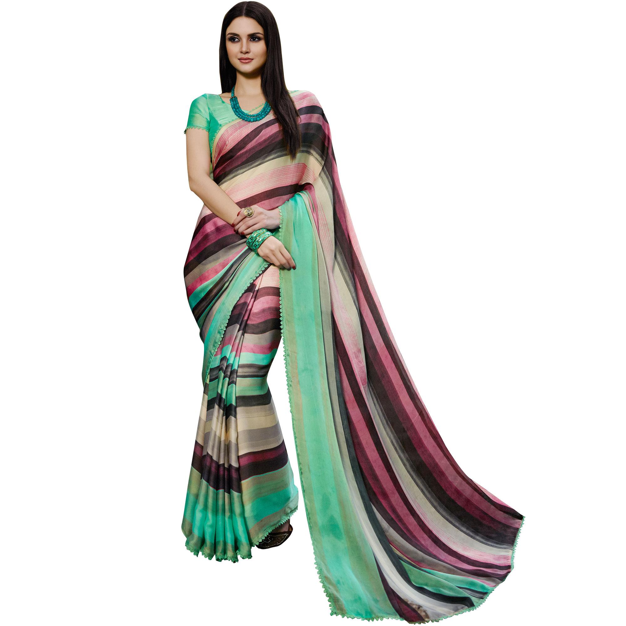 8466980f2d multicolor printed satin saree with blouse - Sanskar - 2223247