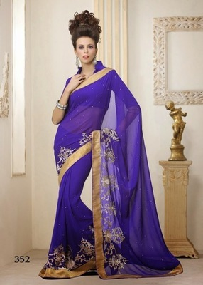 Blue Georgette Designer Sarees with Blouse