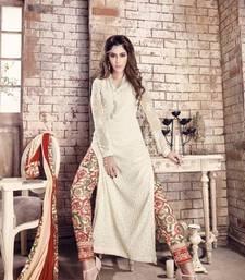 Buy White embroidered georgette salwar party-wear-salwar-kameez online