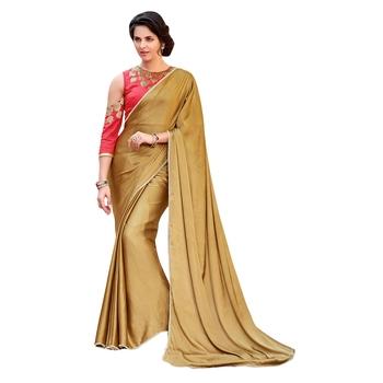 345c420fd4 beige printed satin saree with blouse - Sanskar - 2224028