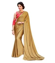 Buy beige printed satin saree with blouse bridal-saree online