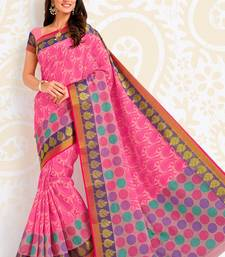 Buy Pink woven cotton saree with blouse Woman online