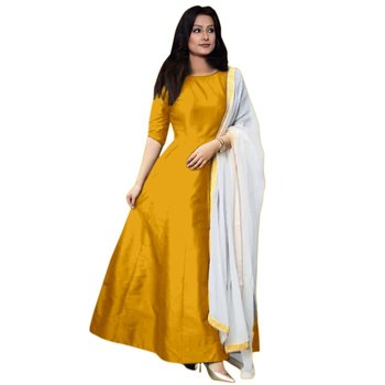 124e5b8ca0 Yellow plain banglori silk semi stitched gown with dupatta - DD's creation  - 2224483