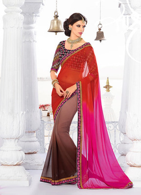 Red Embroidery Georgette  Saree