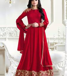 Buy Red embroidered georgette salwar dress-material online