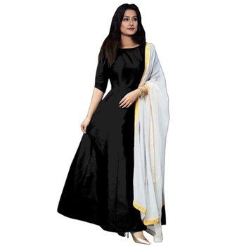 Black plain banglori silk semi stitched gown with dupatta