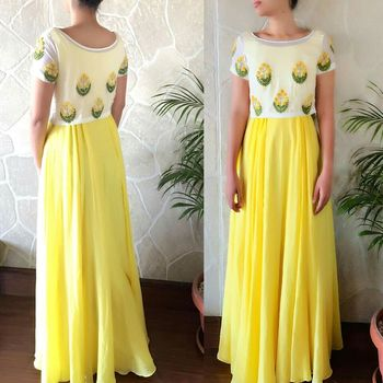 yellow ambroidery georgette semi stitched gown