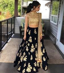 Buy Black embroidered silk unstitched lehenga punjabi-lehenga online
