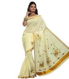 Buy Traditional kasavu weaved saree enriched with peacock embroidery south-indian-saree online