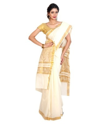 Traditional kasavu weaved saree  with golden floral pattern  in munthi