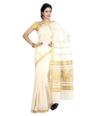 Fashionkiosks cotton cream weaved kerala kasavu saree with blouse